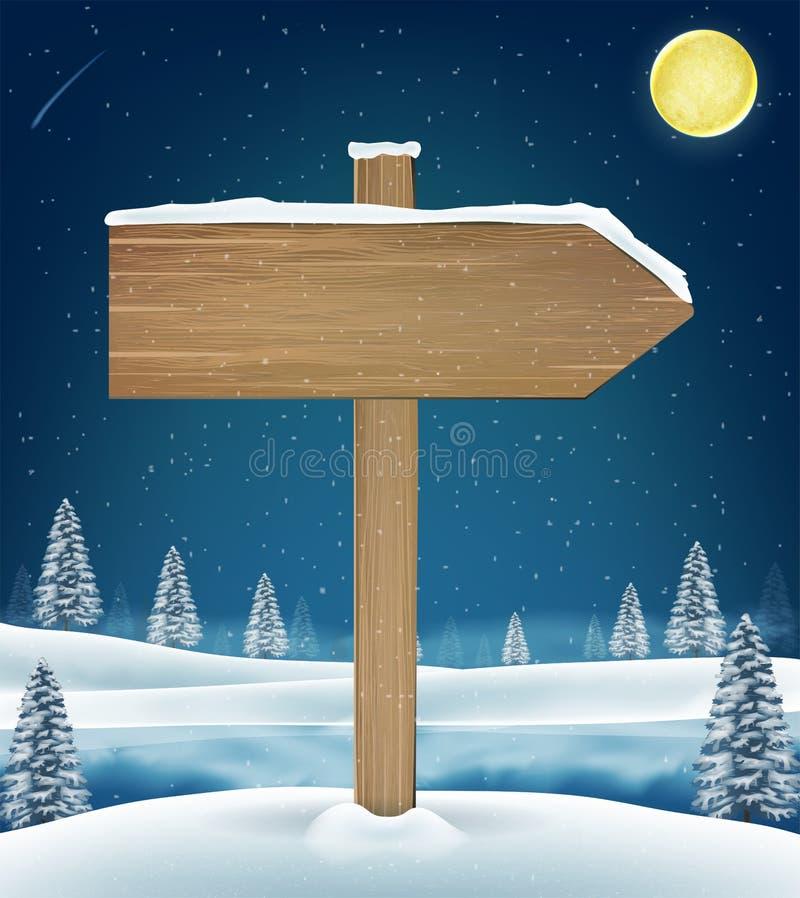 Sinal de madeira da placa do sentido no lago do inverno do Natal ilustração stock