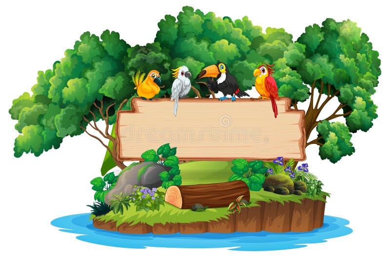 Sinal de madeira da selva e do pássaro ilustração royalty free
