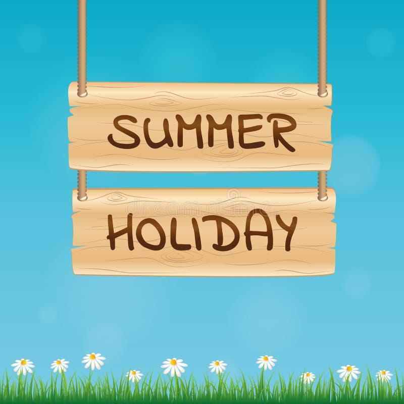 Sinal de madeira das férias de verão com flor e grama da margarida no fundo azul ilustração royalty free