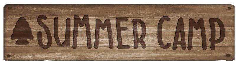Sinal de madeira do acampamento de verão ilustração do vetor