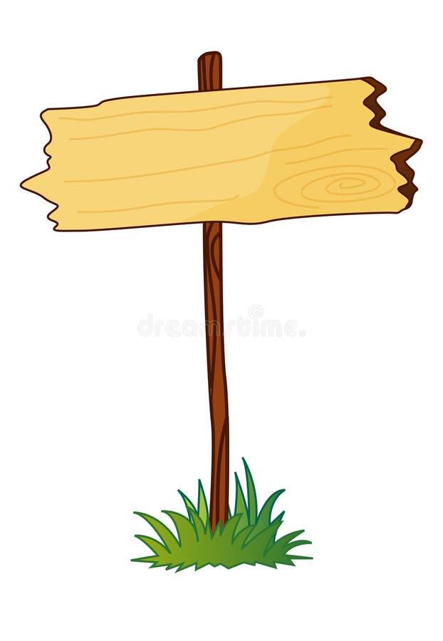 Sinal de madeira em branco ilustração do vetor