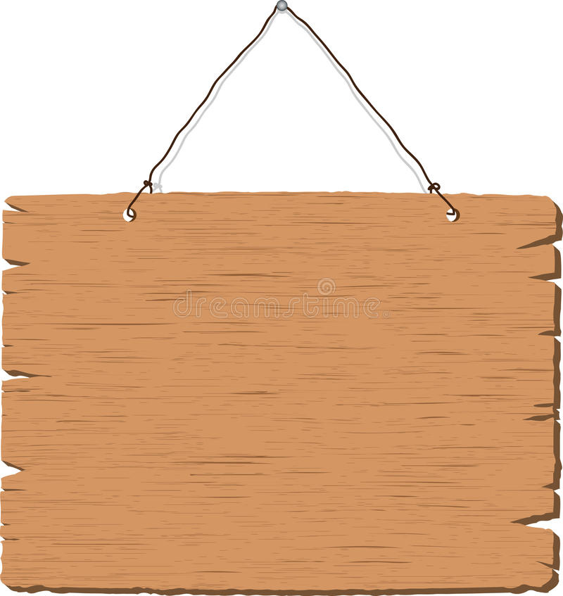 Sinal de madeira em branco de suspensão ilustração do vetor