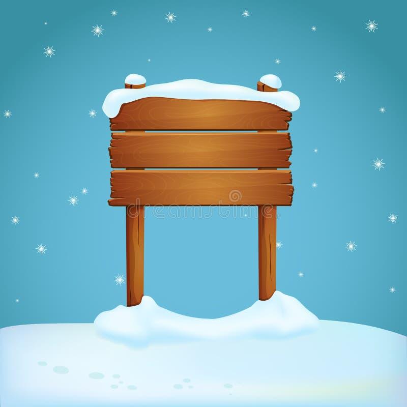 Sinal de madeira largo com os dois cargos cobertos com a neve na terra nevado Fundo azul com flocos de neve de queda ilustração do vetor