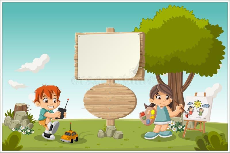 Sinal de madeira no parque colorido com jogo das crianças ilustração royalty free
