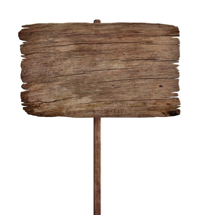 Sinal de madeira resistido velho isolado no fundo branco 5 imagem de stock
