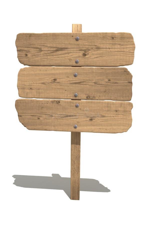 Sinal de madeira velho ilustração do vetor