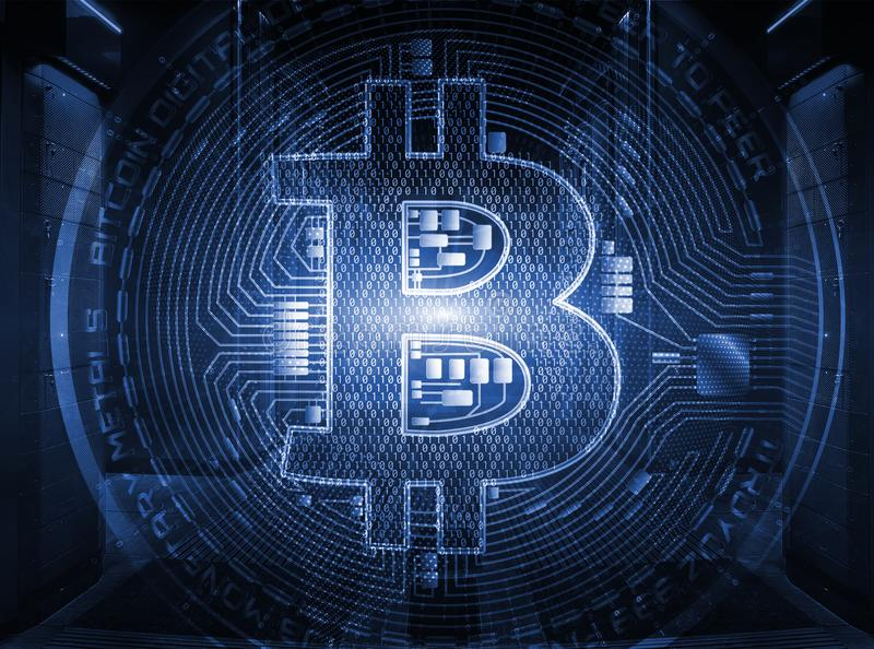 Sinal de moeda cripto de Bitcoin no globo dentro da sala simétrica do servidor com fileiras das unidades centrais no centro de da ilustração royalty free
