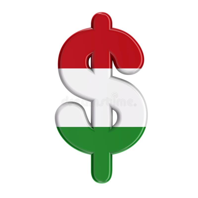 Sinal de moeda húngaro do dólar - bandeira do negócio 3d do símbolo de Hungria - Budapest, Europa Central ou conceito da política ilustração stock