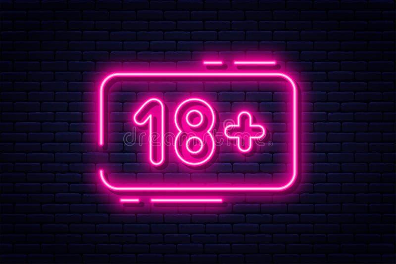 Sinal de néon, adultos somente, 18 positivos, sexo e xxx Índice restrito, bandeira video erótica do conceito, quadro de avisos ou ilustração do vetor