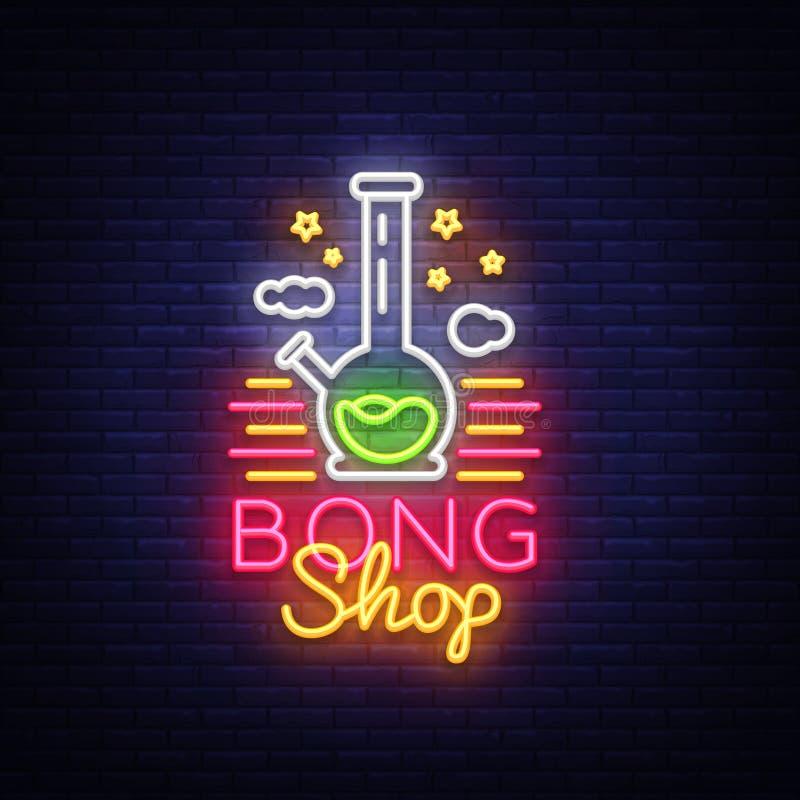 Sinal de néon de Bong Shop Molde do projeto do logotipo para a propaganda ou o signage da loja Instrumento do fumo de cigarro Vet ilustração royalty free
