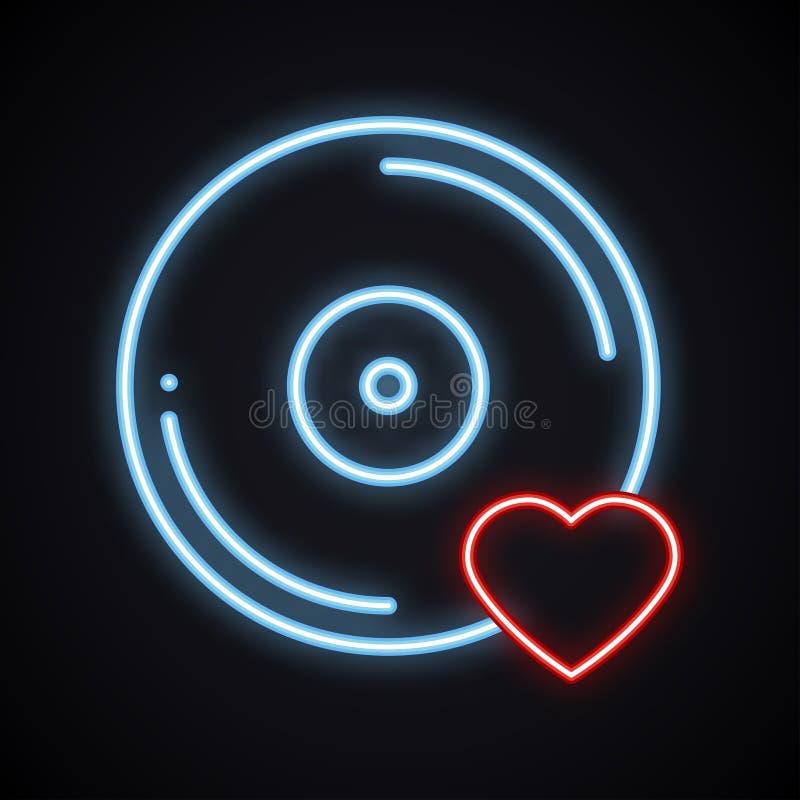 Sinal de néon brilhante realístico do vinil Símbolo de música de incandescência Música favorita Clube, registro, disco, dança, vi ilustração royalty free