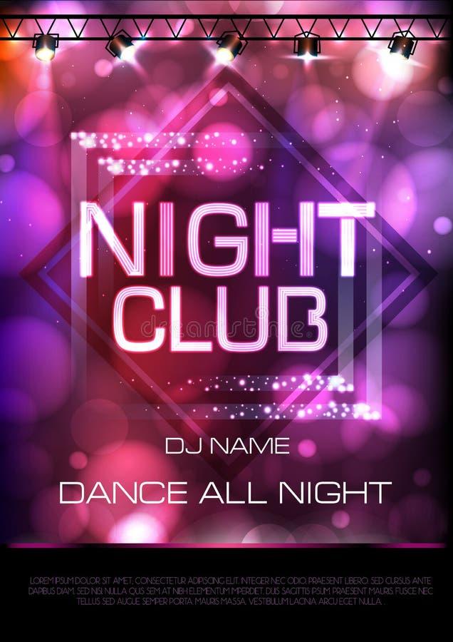 Sinal de néon Cartaz do partido de disco do clube noturno ilustração royalty free