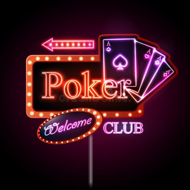 Sinal de néon Clube do póquer ilustração royalty free