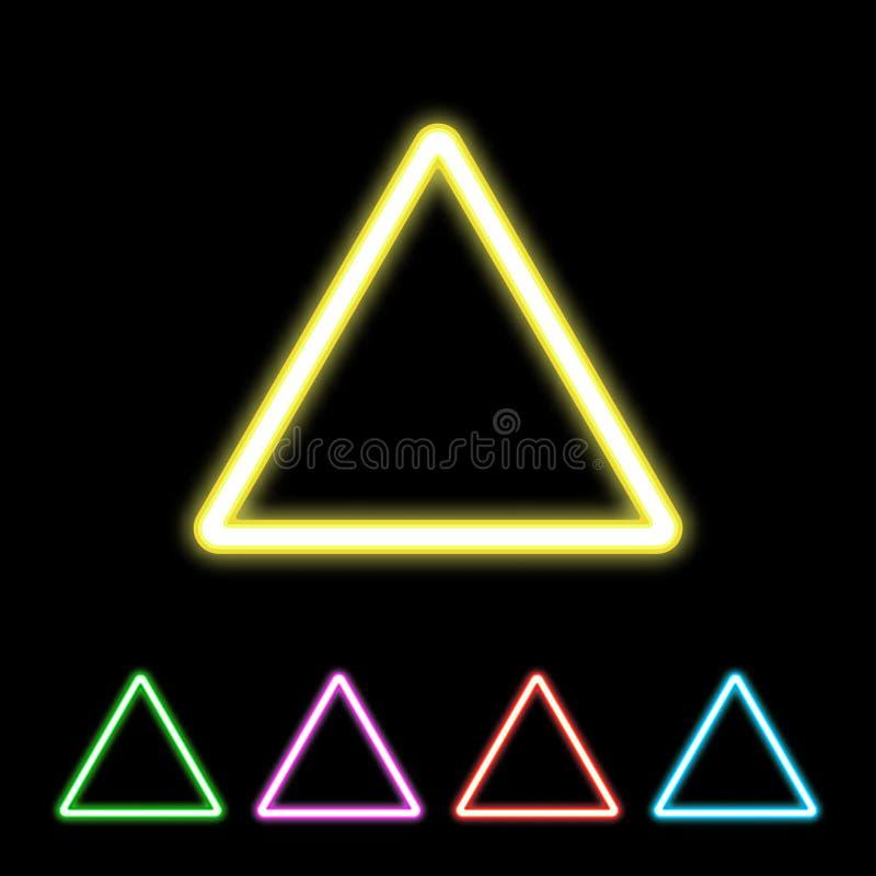 Sinal de néon colorido do triângulo ilustração stock