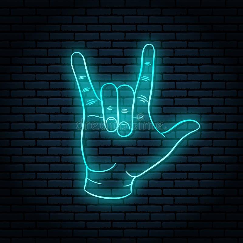 Sinal de néon com fulgor azul Gesto de mão, rolo da rocha n ilustração stock