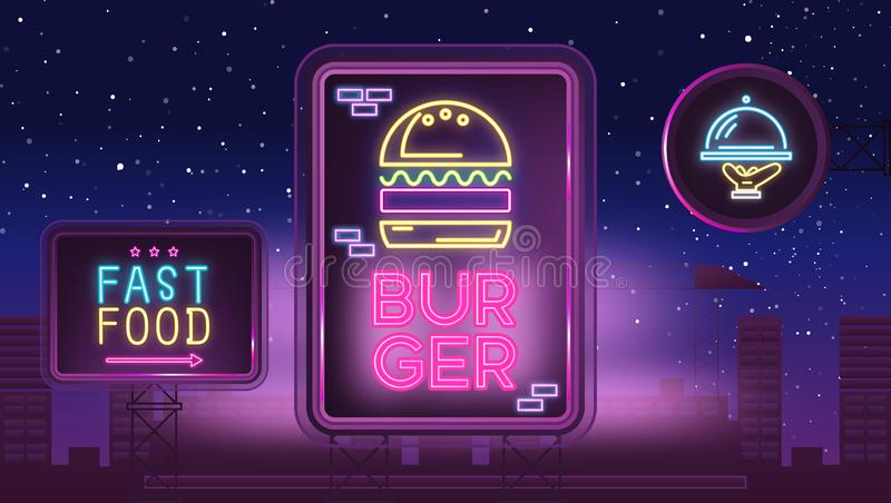 Sinal de néon com hamburguer ilustração stock