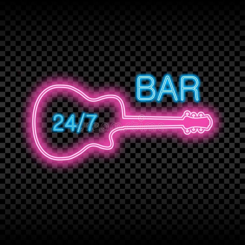 Sinal de néon da barra com guitarra Quadro indicador brilhante de incandescência e de brilho da barra aberta Vetor ilustração do vetor