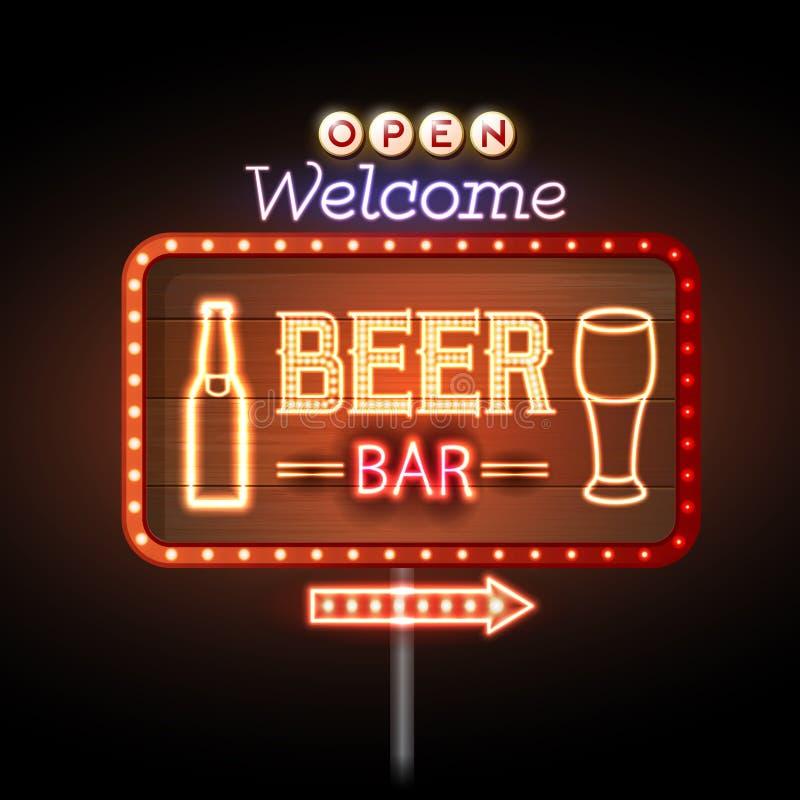 Sinal de néon da barra da cerveja ilustração royalty free
