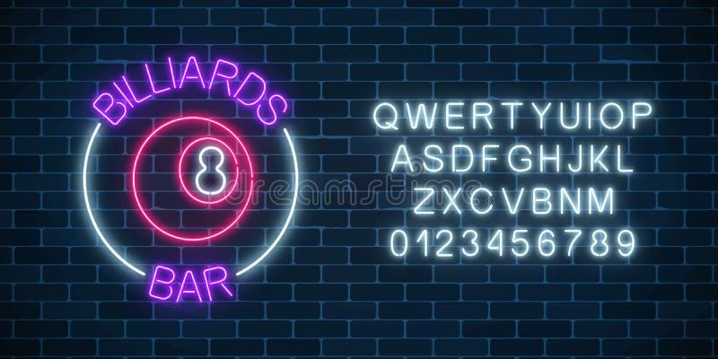 Sinal de néon da barra dos bilhar com alfabeto em um fundo da parede de tijolo Bola de bilhar de incandescência com número 8 ilustração do vetor