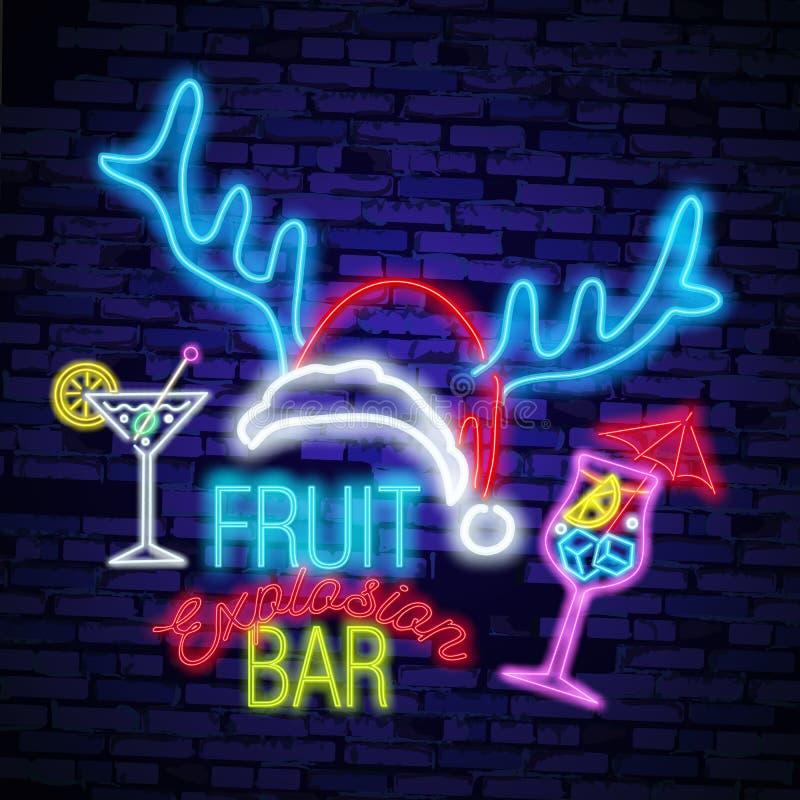 Sinal de néon da cerveja, quadro indicador brilhante, bandeira clara Logotipo da cerveja, emblema ilustração royalty free