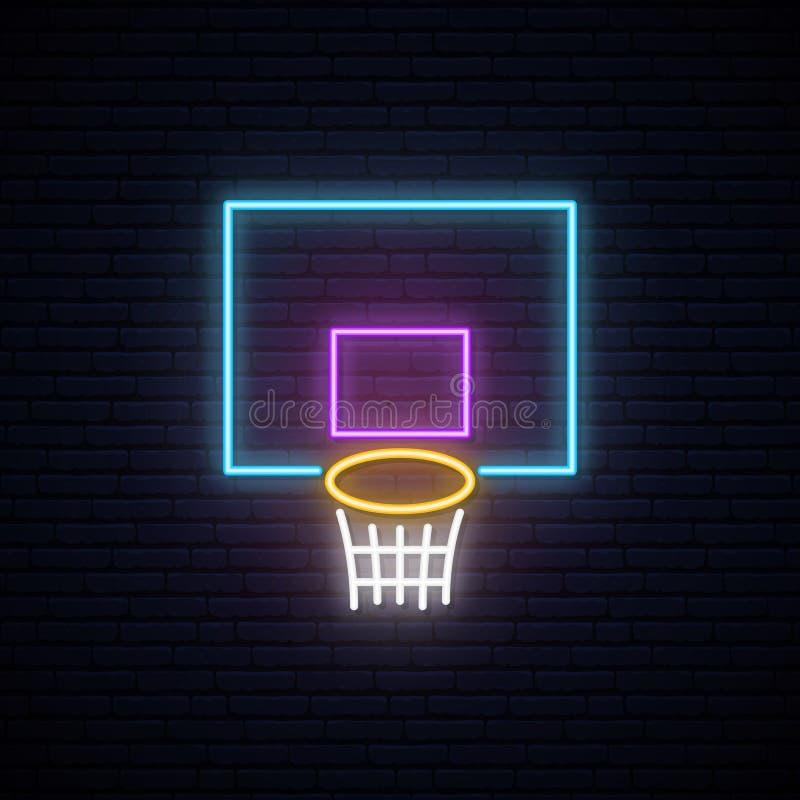 Sinal de néon da cesta do basquetebol ilustração royalty free