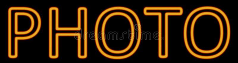 Sinal de néon da foto ilustração stock