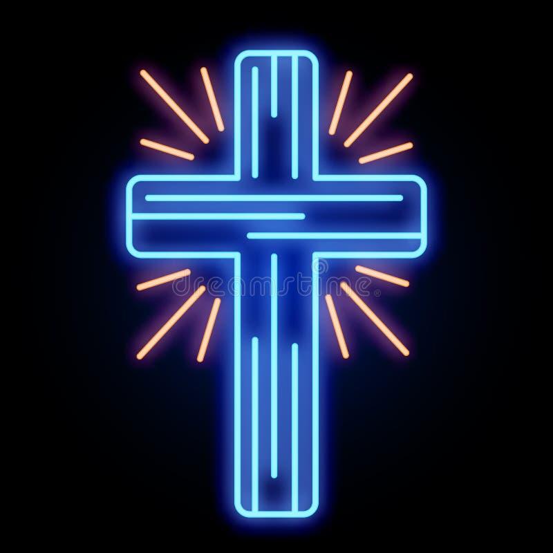 Sinal de néon da luz da cruz da igreja ilustração royalty free