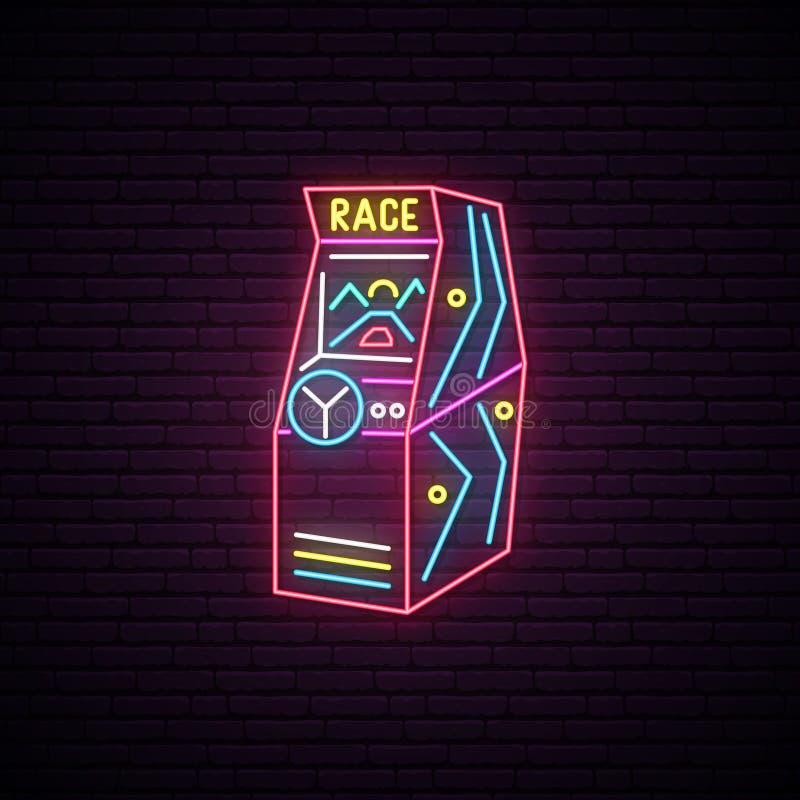 Sinal de néon da máquina de Arcade Game da raça ilustração stock