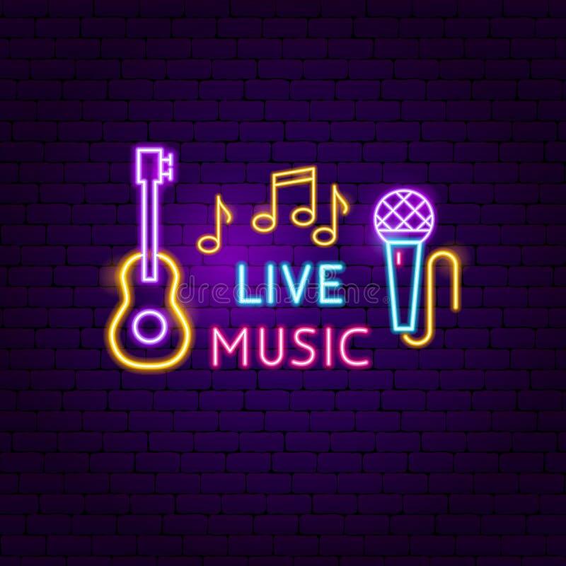 Sinal de néon da música ao vivo ilustração royalty free