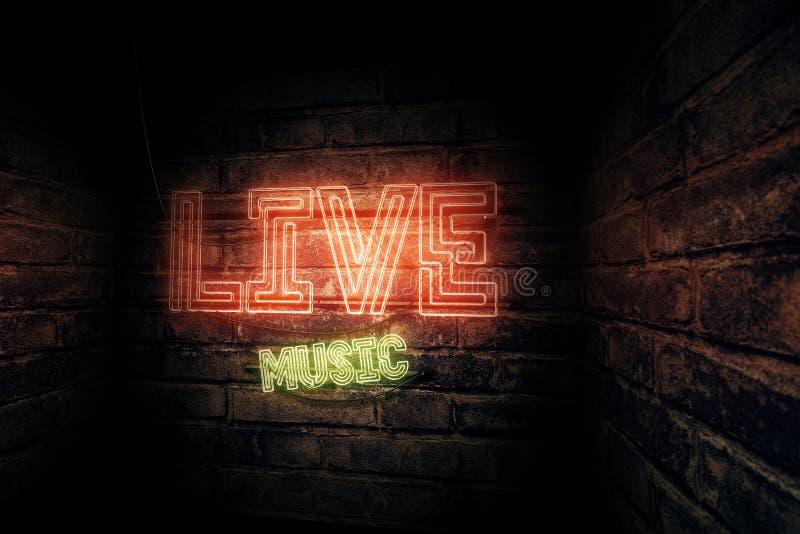 Sinal de néon da música ao vivo ilustração do vetor