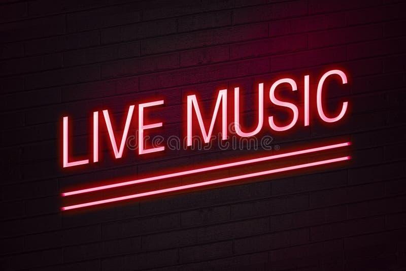 Sinal de néon da música ao vivo para o clube ilustração stock