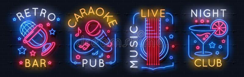 Sinal de néon da música Logotipo claro do karaoke, emblema sadio da luz do estúdio, cartaz gráfico do clube noturno Etiqueta  ilustração royalty free