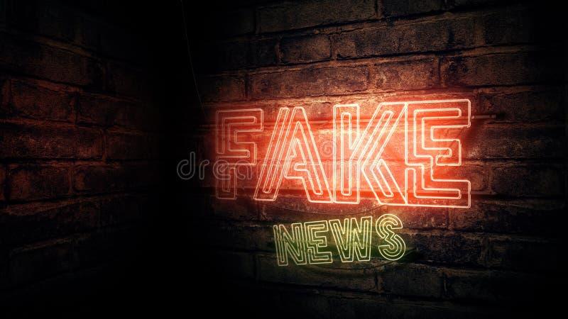 Sinal de néon da notícia falsificada ilustração royalty free