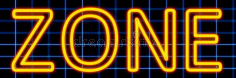 Sinal de néon da zona ilustração do vetor