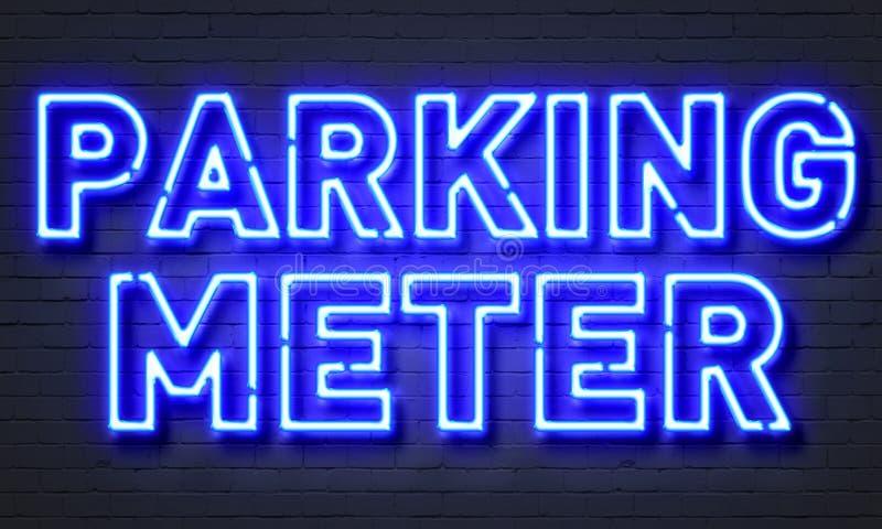 Sinal de néon de medidor de estacionamento foto de stock