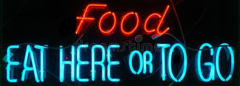 Sinal de néon do alimento fotografia de stock royalty free