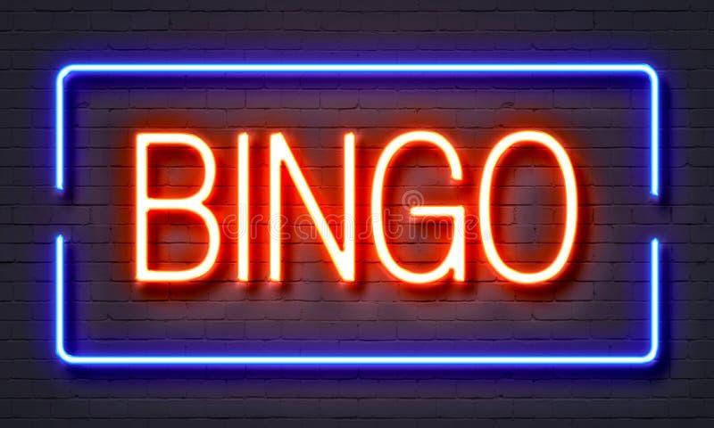 Sinal de néon do Bingo ilustração stock