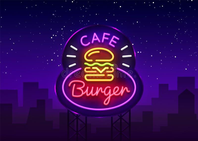 Sinal de néon do café do hamburguer Logotipo de néon do estilo do sanduíche do hamburguer do Fastfood, bandeira brilhante, molde  ilustração royalty free