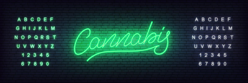 Sinal de néon do cannabis Incandescendo de rotulação o cannabis para o cânhamo, a loja da marijuana ou os businnes ilustração stock