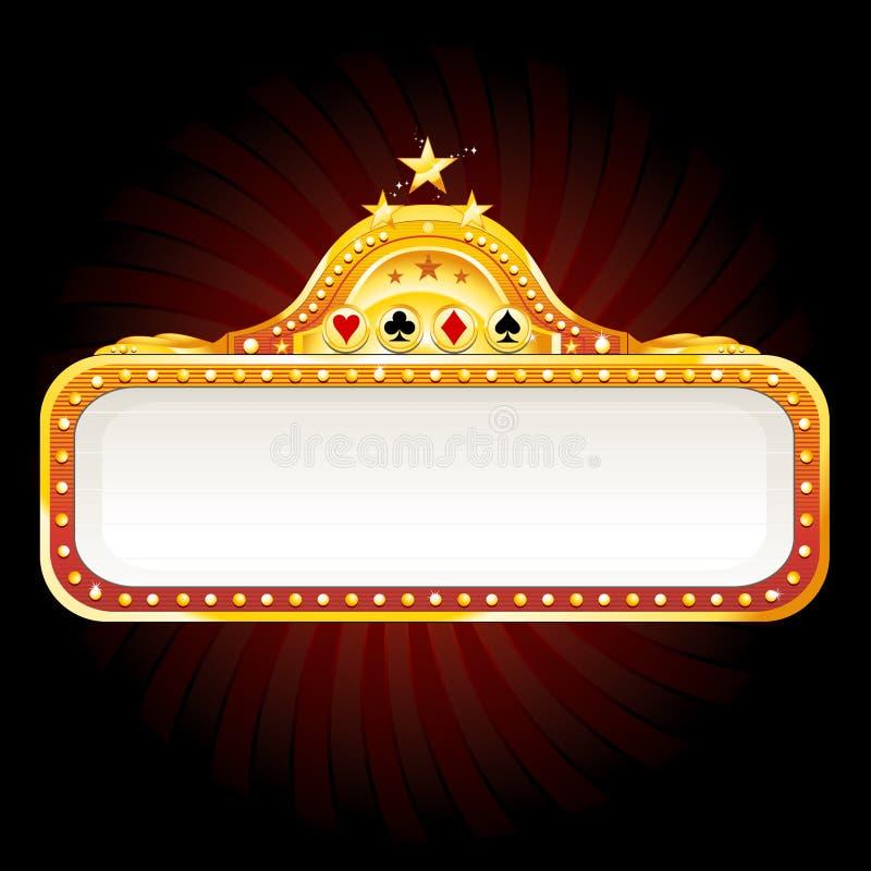 Sinal de néon do casino ilustração stock