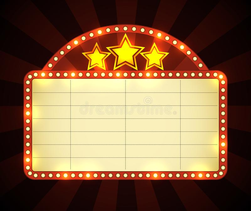 Sinal de néon do cinema ilustração stock