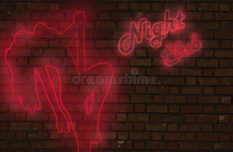 Sinal de néon do clube nocturno ilustração stock