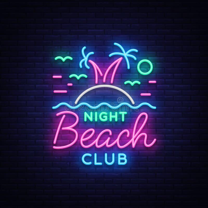 Sinal de néon do clube noturno da praia Logotipo no estilo de néon, símbolo, molde para o clube noturno, propaganda do projeto do ilustração stock