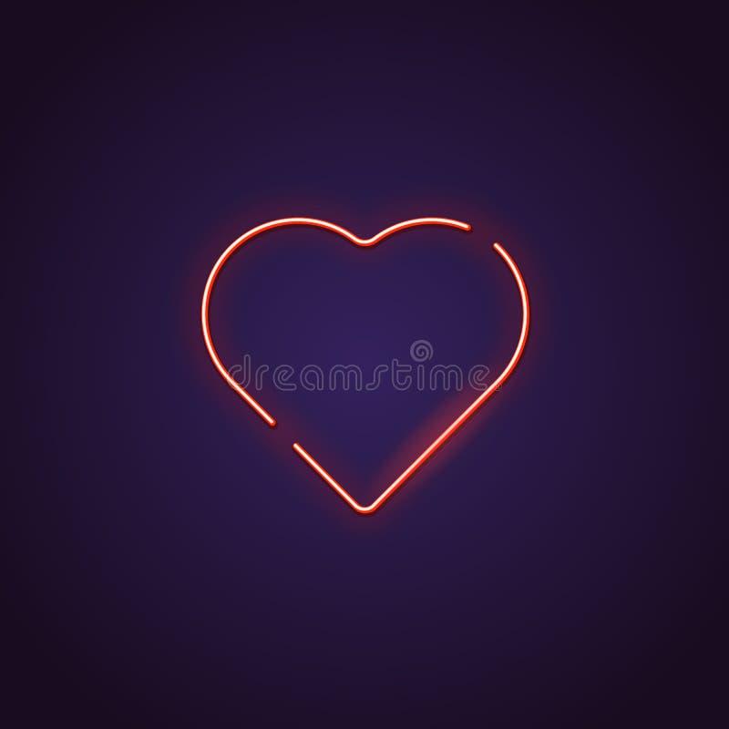 Sinal de néon do coração ilustração do vetor