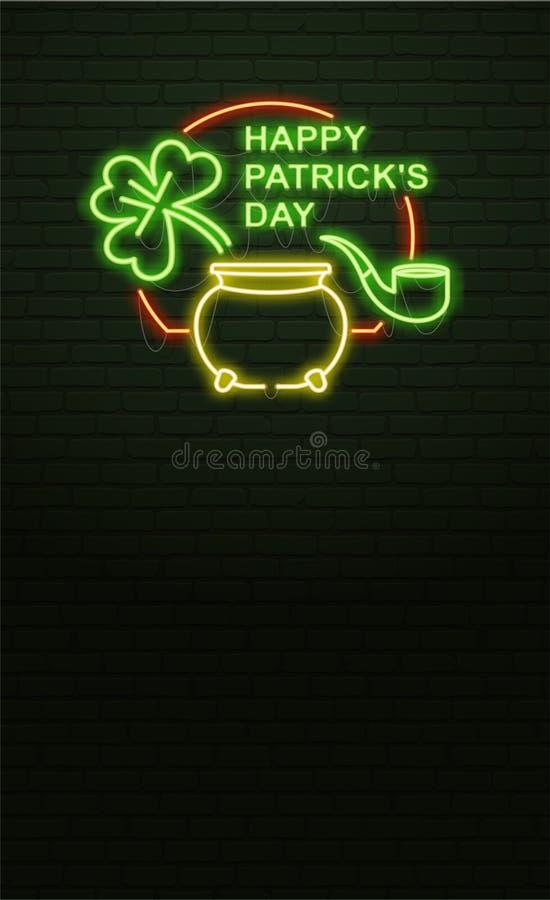 Sinal de néon do dia do St Patricks e parede de tijolo verde Sinal realístico ilustração stock