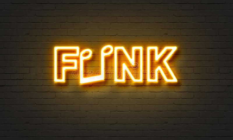Sinal de néon do funk no fundo da parede de tijolo imagem de stock royalty free