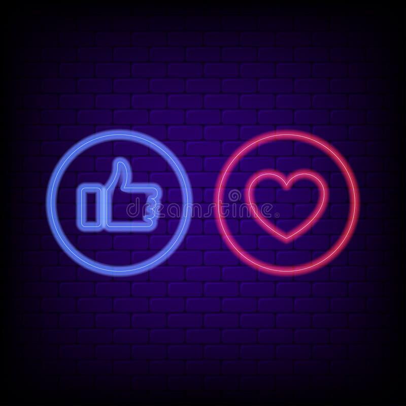 Sinal de néon do gosto e do coração Polegares azuis de néon brilhantes acima e coração vermelho, bandeira da noite do conceito so ilustração royalty free