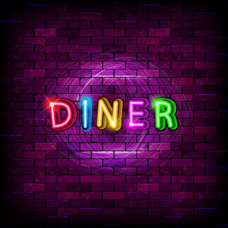 Sinal de néon do jantar na parede de tijolo ilustração do vetor