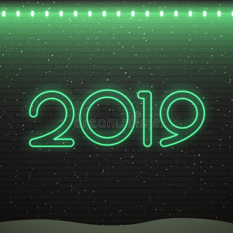 Sinal de néon do logotipo 2019 para a decoração no fundo da parede de tijolo Conceito do Feliz Natal e do ano novo feliz ilustração do vetor