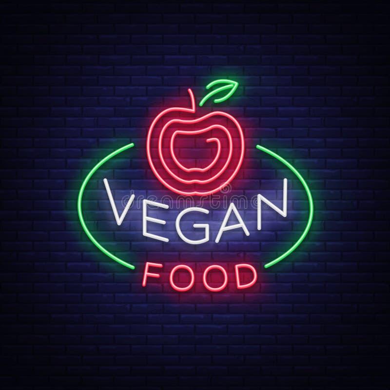 Sinal de néon do logotipo do vegetariano, símbolo do vegetariano, sinal luminoso brilhante, propaganda de néon da noite no alimen ilustração stock